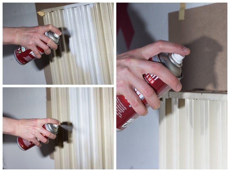 pintar un radiador con pintura en spray para radiadores