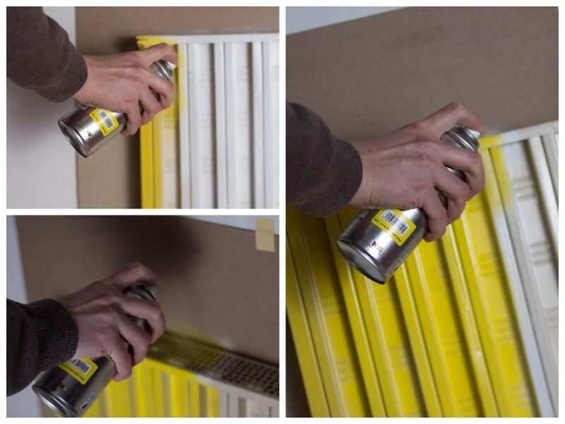 pintar un radiador de color amarillo